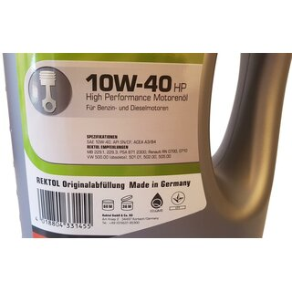 5 L REKTOL Motorenöl 10w-40 HP High Performance + 500ml Mathy M Motoröl Additiv